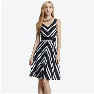 White House Black Market V-neck Stripe Dress